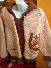 XL True Vtg 70's HOME MADE HORSE EQUESTRIAN THICK WOOL ZIP COWICHAN JACKET BROWN
