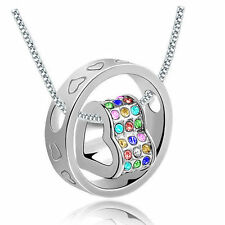 NEW Women Fashion Heart Mix Crystal Silver Charm Pendant Chain Necklace #B1S9