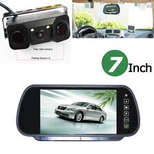"7"" Car Reverse Rear View Mirror Monitor + 3 In 1 Backup HD Camera & Radar Sensor"