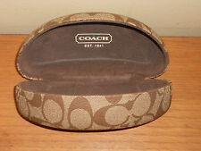 Coach Signature Tan Brown Hard Clamshell Sunglass Eyeglass Case  EUC