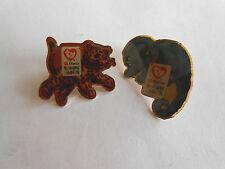 2 Fun Vintage McDonalds Teenie Beanie Babies Pins Pinbacks Iguana & Leopard
