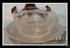 Rare Antique Moser Class Stone Cut Bowl & Plate Birds