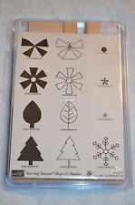 Stampin up TWO-STEP SHAPES & SHADOWS  Leaf Flower Snow Butterfly unmounted NEW