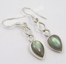 "Exotic Earrings 1.6"" Birthday Present 925 Sterling Silver Original Labradorite"