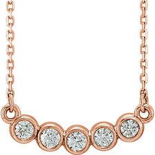 Bisel Con Diamantes Conjunto de 1/3ctw 40,6 -45 , 7cm Collar en 14k ORO ROSA