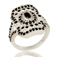 925 Sterling Silver Natural Black Onyx Gemstone Statement Ring, Designer Jewelry
