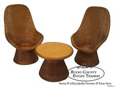 Vintage Pair of Wicker Rattan High Back Chairs & Side Table Set