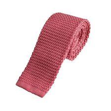 Men's Plain Pink Narrow Slim Skinny Silk Knitted Tie (6-N007)