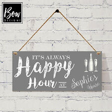 180 GREY PERSONALISED Happy Hour sign / wine beer O'Clock / Wine Gin Prosecco