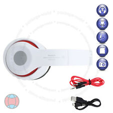 New Foldable Wireless Bluetooth Headset Stereo White Headphone Built-In FM Radio