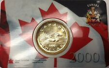 2000 Canada  loonie $1 coin embedded in Canadian flag & map card - No Tax