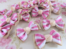 40 Stripe Satin Ribbon Bow 1.25 Applique/Hand made/Double Layers F74-Pink/Brown