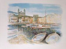 litho de Robert PICCIO, peintre Corse , vue de Bastia