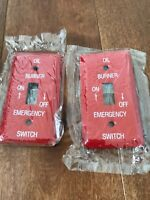 2 PACK- Emergency Oil Burner Metal Switch Cover WALL PLATE Red 2-1/4 X 4