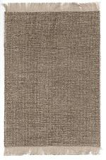 "Dollhouse miniatures self fringed rug in brown & cream w/nice sheen 5 3/4"" x 9"""