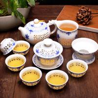 Chinese blue-and-white porcelain tea set cellular design creative tea pot gaiwan