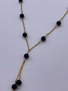 Solid 14k Gold Chain with Black Onyx Beads