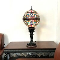 """Tiffany Style 27"""" Tall Victorian Globe Shape Stained Glass Table Lamp 11"""" Shade"""