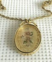 "Vintage Clear Lucite Flower Gold Tone Filigree Oval Pendant Chain 23""  Necklace"