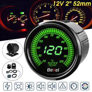"""2"""" 52MM 10 Colors LED Digital Water Temp Temperature Gauge Meter with Sensor"""
