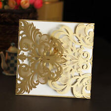 5 pcs/lot Hollow Pattern INVITATION Cards For Wedding Party Birthday-Golden