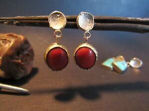 Coral earrings. 14k yellow gold earrings with Red coral. Unique dangle gold