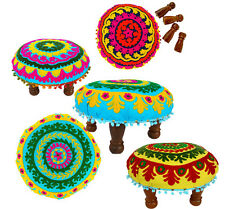 Wooden Stool Chawki Stool Cloth / Living Room Furniture Embroidery Upholstered
