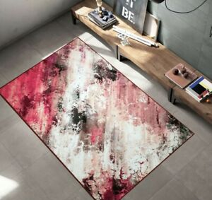 NEW Abstract Galaxy Multi Modern Area Rug Non-Slip Rubber Back Carpet Pink 2'x3'