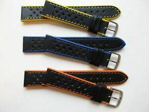Three Rally perforated pinhole leather watch bands - 18 MM orange/ yellow / blue
