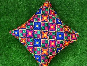 """Set of 5 Cushion Covers in Blue Stitched Phulkari Embroidered 16"""" by 16"""""""