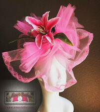 Fascinator Pink Stargazer Lily Flower Kentucky Derby Hat Del Mar Royal Ascot Big