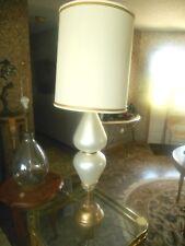 VTG. MID-CENTURY MURANO OPALINE HOLLYWOOD REGENCY ART GLASS TEARDROP TABLE LAMP