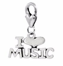 I Heart Music Gift Love Musician Words Lobster Clip On Dangle Charm for Bracelet