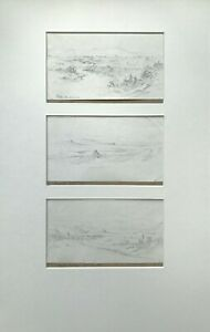 Triptych Antique 1841 Original Signed Pencil Study Drawings of Italian Landscape