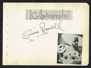 Connie Russell (d. 1990) signed autograph 5x6 Album Page Singer and Actress