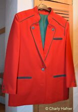 Wie neu: Trachtenjacke Damen,Trevira, rot mit grünem Futter (Polyester) Gr.40/42