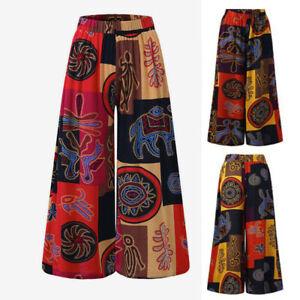 Women Boho Baggy Casual Trousers Harem Gypsy Pants Hippie Wide Leg Yoga Palazzo