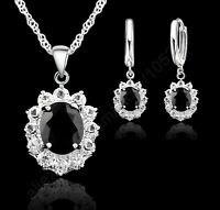 New Black Oval CZ Jewelry Sets 925 Sterling Silver Pendant Necklace&Hoop Earring