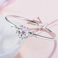 Elegante bracciale donna in argento sterling 925 CZ Cherry Blossoms