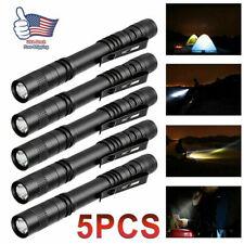 5PCS XPE-R3 LED Flashlight Clip Mini Light Penlight Pen Torch Lamp Portable NEW