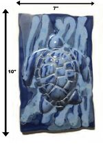 Blue Tortoise Wall Plaque Signed Work by Albert Molina, Handmade Ceramic Pottery
