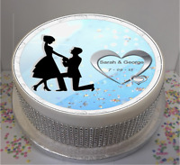 """Novelty Personalised Engagement Silhouette  7.5"""" Edible Icing Cake Topper"""
