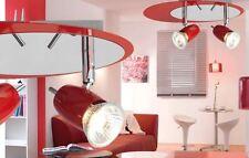TECHO PARED SALÓN ESS dormitorio lámpara 2 Foco Reflector Rojo Cromado
