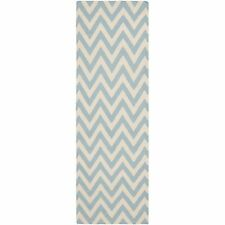 "Safavieh Blue/ Ivory Flat weave Wool Runner 2' 6"" x 12'"