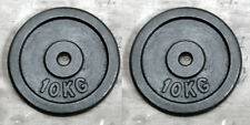 """2 x 10Kg Weight Discs, Cast Iron, 1"""" clearance hole, Plates for 1"""" Bars"""
