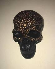 1x gem skull wall plaque -  black & copper - FREE p&p - Posh Goth GOTHIKA