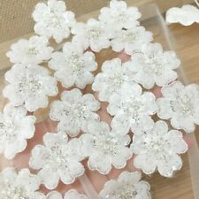 New listing White Sequin Beaded Lace Applique Flower Patch Motif Veil Craft Supply Patches