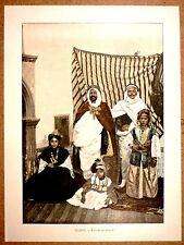 ALGÉRIE Caïd et sa famille - Photochromie fin 19ème Gravure