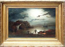 """Fishing at night"" old oil on canvas,antique painting 19th c German school,"
