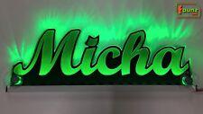 """LED LKW Trucker Leuchtschild Namensschild """"Micha"""" Wunschname 12 24V grün ©faunz"""